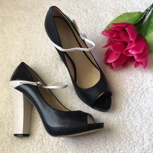 Nine West black and white chunky heel Mary Janes